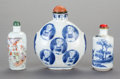 Asian:Chinese, THREE CHINESE PORCELAIN SNUFF BOTTLES. Marks to tallest: (chopmarks). 4 inches high (10.2 cm) (tallest). ... (Total: 3 Items)