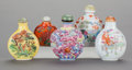 Asian:Chinese, FIVE CHINESE PORCELAIN SNUFF BOTTLES. 3 inches high (7.6 cm)(tallest). ... (Total: 5 Items)