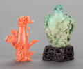 Asian:Chinese, TWO CHINESE SNUFF BOTTLES. 2-3/4 inches high (7.0 cm) (tallest).... (Total: 2 Items)