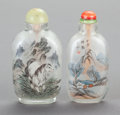 Asian:Chinese, TWO CHINESE GLASS SNUFF BOTTLES. 3-1/8 inches high (7.9 cm)(taller). ... (Total: 2 Items)