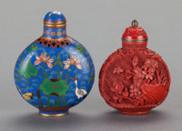 TWO CHINESE SNUFF BOTTLES 2-1/2 inches high (6.4 cm) (tallest)
