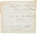Autographs:U.S. Presidents, Ulysses S. Grant Autograph Docket Signed.... (Total: 2 Items)