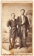 Autographs:Military Figures, Confederate Guerrilla Champ Ferguson Carte de Visite Twice Signed....