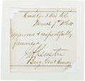 Autographs:Military Figures, George Armstrong Custer Endorsement Signed...