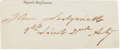 "Autographs:Military Figures, Union General John Sedgwick Signature with rank as ""1st Lieut2nd Arty."" 4"" x 1.75"". Clipped from a document, with light..."