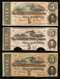 Confederate Notes:1862 Issues, Three Confederate $5s.. ... (Total: 3 notes)