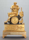 Decorative Arts, French:Other , A CONTINENTAL NEOCLASSICAL-STYLE GILT BRONZE FIGURAL MANTLE CLOCK,circa 1900. 21-1/2 inches high (54.6 cm). ...