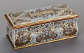 Decorative Arts, French:Other , A CONTINENTAL INLAID BRASS, SILVER AND MOTHER OF PEARL BOULLE-STYLE BOX, late 19th century. 3-1/2 x 10 x 4 inches (8.9 x 25....