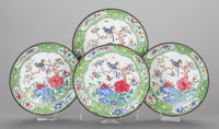 A SET OF FOUR CHINESE PEKING ENAMELED PLATES, 19th century 8 inches diameter (20.3 cm)