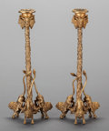 Lighting:Candelabra, A PAIR OF GILT BRONZE FIGURAL CANDLESTICKS, 20th century. 12-1/4 x 5 x 5 inches (31.1 x 12.7 x 12.7 cm). ... (Total: 2 Items)