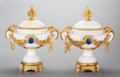 Ceramics & Porcelain, Continental:Antique  (Pre 1900), A PAIR OF CONTINENTAL CARVED MARBLE AND GILT BRONZE URNS, late 19th/early 20th century. ... (Total: 2 Items)