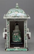Asian:Chinese, A CHINESE FAMILLE VERTE PORCELAIN SEDAN CHAIR WITH SEATED GUANYIN.13 inches high (33.0 cm). ... (Total: 2 Items)