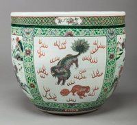 A CHINESE FAMILLE VERTE PORCELAIN JARDINIÈRE, 19th century 18 inches high x 20 inches diameter (45.7 x 50.8 cm)