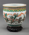Asian:Chinese, A CHINESE FAMILLE VERTE PORCELAIN FISH BOWL. 9 inches high x 10inches diameter (22.9 x 25.4 cm). ...