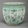 Asian:Chinese, A CHINESE FAMILLE ROSE PORCELAIN JARDINIÈRE, 19th century. 17-1/4inches high x 17 inches diameter (43.8 x 43.2 cm). ...