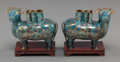 Other, A PAIR OF CHINESE CLOISONNÉ ENAMEL JOSS STICK HOLDERS ON WOOD STANDS. 8 inches long (20.3 cm). ... (Total: 2 Items)