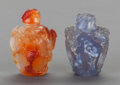 Asian:Chinese, TWO CHINESE HARDSTONE SNUFF BOTTLES. 2-1/2 inches high (6.4 cm)(taller). ... (Total: 2 Items)