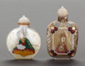 Asian:Chinese, TWO CHINESE MOTHER-OF-PEARL SNUFF BOTTLES. 3-1/4 inches high (8.3cm) (tallest). ... (Total: 2 Items)
