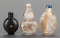 Asian:Chinese, A GROUP OF THREE CHINESE SNUFF BOTTLES. 3 inches high (7.6 cm)(tallest). ... (Total: 3 Items)