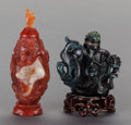 Asian:Chinese, A SPINACH JADE SNUFF BOTTLE AND AGATE SNUFF BOTTLE. 4 inches high(10.2 cm) (tallest). ... (Total: 2 Items)