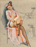 Pin-up and Glamour Art, K.O. (KNUTE) MUNSON (American, 20th Century). Pin-Up inStockings. Pastel and charcoal pencil on board. 30.5 x 23 in..S...
