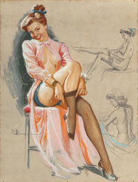 K.O. (KNUTE) MUNSON (American, 20th Century) Pin-Up in Stockings Pastel and charcoal pencil on board