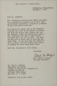 Dwight D. Eisenhower: Five Stars from the General's Uniform with an Ethel M. Wetzel Typed Letter