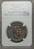 Coins of Hawaii: , 1883 50C Hawaii Half Dollar -- Improperly Cleaned -- NGC Details.AU. NGC Census: (29/303). PCGS Population (58/384). Minta...