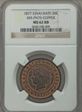 Haiti, Haiti: Republic Essai 20 Centimes in copper 1877-IB/CT MS62 Red andBrown NGC,...
