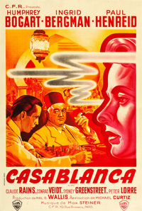 """Casablanca (Warner Brothers, 1940s). First Post-War Release French Affiche (31.5"""" X 46.5"""")"""