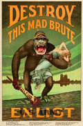 "Movie Posters:War, World War I Propaganda (U.S. Government, 1917). Recruitment Poster(27"" X 41.25"") ""Destroy This Mad Brute."". ..."