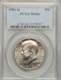 Kennedy Half Dollars: , 1981-D 50C MS66 PCGS. PCGS Population (83/23). NGC Census: (18/7).Mintage: 27,839,532. Numismedia Wsl. Price for problem f...