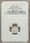 Three Cent Silver: , 1851 3CS -- Cleaned, Corrosion -- NGC Details. UNC. NGC Census: (1/1066). PCGS Population (18/1170). Mintage: 5,447,400. Nu...