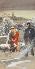 Mainstream Illustration, E. SIMMS CAMPBELL (American, 1906-1971). Cuddling in the Cold,Esquire magazine cover, February 1947. Watercolor, temper...(Total: 2 Items)