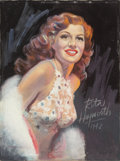 Pin-up and Glamour Art, HOWARD CONNOLLY (American, 20th Century). Portrait of RitaHayworth, 1942. Pastel on paper. 40 x 30 in.. Signed lowerle...