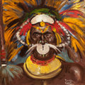 Pulp, Pulp-like, Digests, and Paperback Art, BENTON HENDERSON CLARK (American, 1895-1964). Chief inHeaddress, African Adventure magazine cover. Oil oncanvasboard. ...