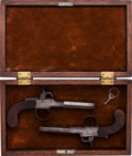Handguns:Muzzle loading, Cased Pair of London Boxlock Single-Shot Pistols.... (Total: 2Items)