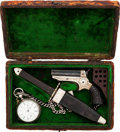 Handguns:Derringer, Palm, Cased Sharp's Derringer with Pocket Watch and Sheffield Knife....