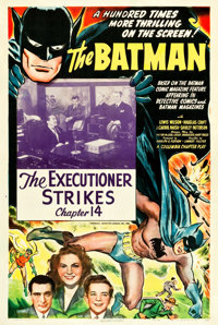 "The Batman (Columbia, 1943). One Sheet (27.5"" X 40.75""). Chapter 14 -- ""The Executioner Strikes.""..."