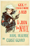 "Movie Posters:War, World War I ""Christy Girl' Recruiting Poster (U. S. Navy, 1918).Howard Chandler Christy Poster (27"" X 41""). ""Gee, I Wish I ..."