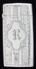 Silver Smalls:Match Safes, AN AMERICAN SILVER MATCH SAFE, Gorham Manufacturing Co.,Providence, Rhode Island, circa 1871. Marks: (lion-anchor-G),STE...