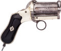 Handguns:Derringer, Palm, Unmarked Ring Trigger Pinfire Pocket Revolver....