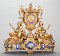 Paintings, A NAPOLEON III GILT BRONZE AND ENAMELED FIGURAL CLOCK, . circa 1860. 18-1/2 x 19-1/2 x 7 inches (47.0 x 49.5 x 17.8 cm). ...