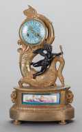 Paintings, A NAPOLEON III PORCELAIN, GILT AND PATINATED BRONZE FIGURAL CLOCK, circa 1860. 16 inches high (40.6 cm). ...