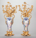 Asian:Chinese, A PAIR OF CHINESE PAINTED AND ENAMELED PORCELAIN VASES MOUNTED WITHGILT BRONZE FIVE-LIGHT CANDELABRUM IN THE LOUIS XV TASTE,...(Total: 2 Items)