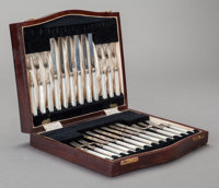 A TWENTY-FOUR PIECE ENGLISH SILVER AND MOTHER OF PEARL FRUIT SET IN ORIGINAL CASE, Cooper Brothers, Sheffield, Englan