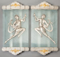 Decorative Arts, French:Other , A PAIR OF FRENCH ART DECO FROSTED GLASS, SILVERED AND GILT BRONZEWALL SCONCES, circa 1925. 31 x 13 x 3 inches (78.7 x 33.0 ...(Total: 2 Items)