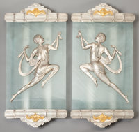 A PAIR OF FRENCH ART DECO FROSTED GLASS, SILVERED AND GILT BRONZE WALL SCONCES, circa 1925 31 x 13 x 3 inches (78