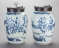 Asian:Chinese, A PAIR OF CHINESE BLUE AND WHITE PORCELAIN AND WROUGHT METAL TEAJARS WITH LOCKING DEVICES,. Marks: (double ring in undergla...(Total: 2 Items)