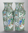 Asian:Chinese, A PAIR OF CHINESE FAMILLE VERTE PORCELAIN VASES. 22-3/4 x 8 x 6-1/2inches (57.8 x 20.3 x 16.5 cm). ... (Total: 2 Items)